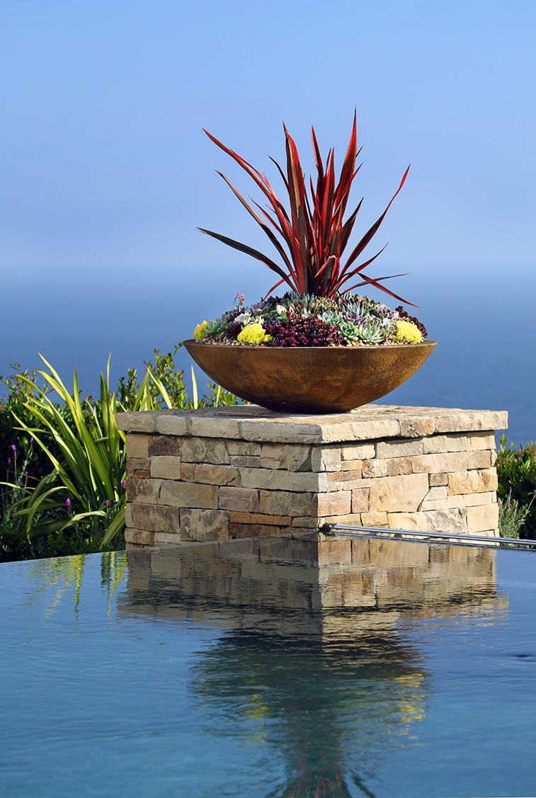 Succulent Pottery over Pool with Ocean View