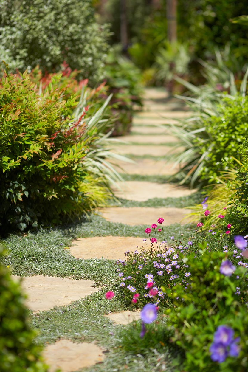 Stone Pathway with Flowers