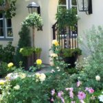 English Front Entrance with Bright Flowers