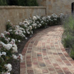 Brick Pathway with White Roses