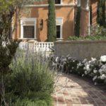 Italian villa Pathway White Flowers